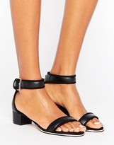 Ted Baker Ruz Black Leather Mid Heeled Sandals