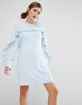 Fashion Union Shift Dress With Pleated Ruffle Trim