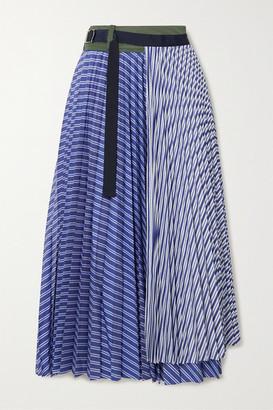 Sacai Pleated Striped Cotton-poplin Wrap Midi Skirt - Blue