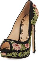 Marchesa Rose Embroidered Peep-Toe Platform Pump, Black