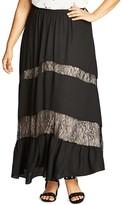City Chic Romantic Lace Inset Maxi Skirt