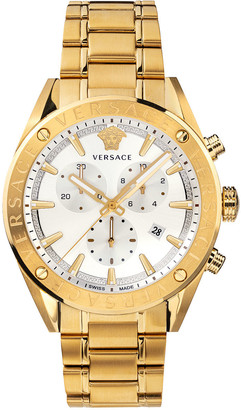 Versace Men's 44mm Chronograph Gold IP Bracelet Watch