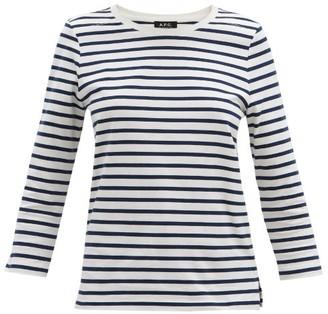 A.P.C. Striped Cotton-jersey T-shirt - Blue White