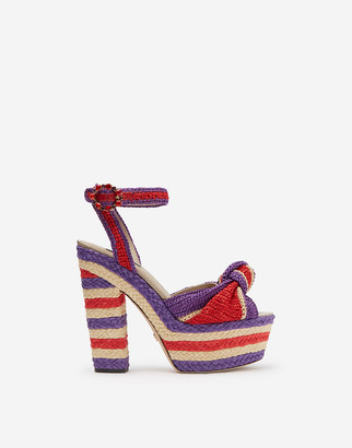 Dolce & Gabbana Raffia Wedge Sandals