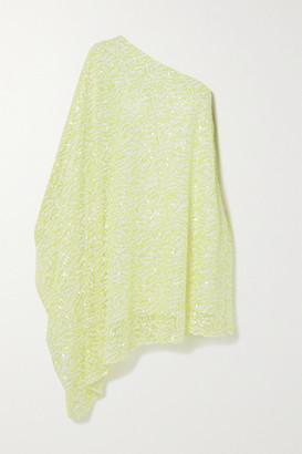 Halpern One-shoulder Asymmetric Sequined Mesh Maxi Dress - Chartreuse