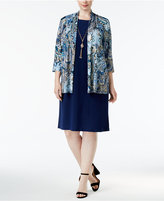 R & M Richards Plus Size Metallic Paisley Jacket & Necklace Dress