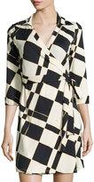 Julie Brown Milo Check 3/4-Sleeve Wrap Dress, Moonshine