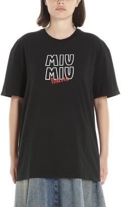 Miu Miu Logo Print Crewneck T-Shirt
