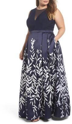 Morgan & Co. Mikado Illusion V Neck Gown