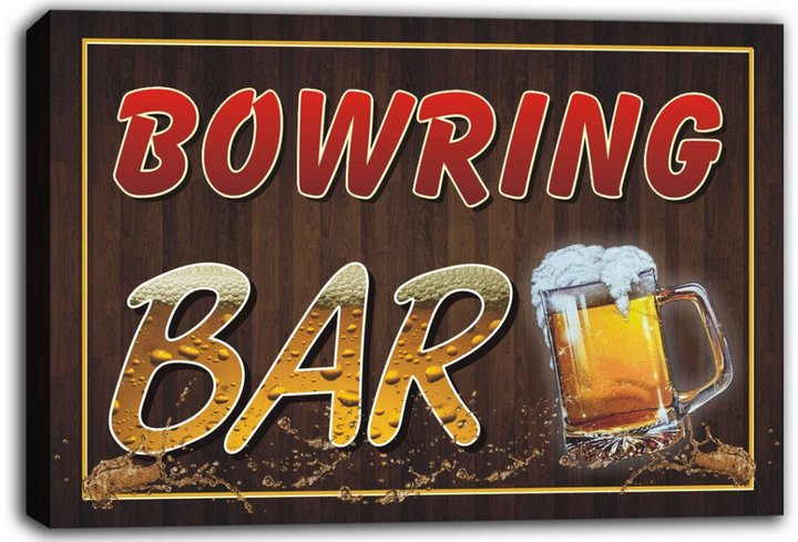 AdvPro Canvas scw3-049264 BOWRING Name Home Bar Pub Beer Mugs Stretched Canvas Print Sign