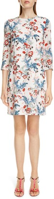 Erdem Emma Floral Print Silk Shift Dress