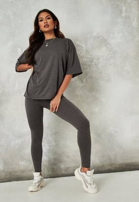 Missguided Charcoal Gray T Shirt And Leggings Co Ord Set