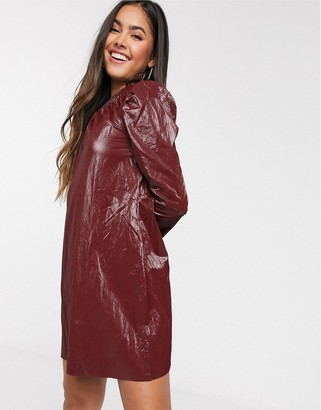Asos Design DESIGN crinkle leather look mini dress in burgundy-Red