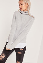 Missguided Grey Turtle Neck Cropped Sweater