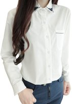 uxcell Women Point Collar Embroidery Detail Button Closed Shirt Camisas