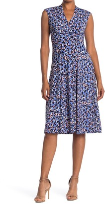 Vince Camuto Ditsy Print Ruched Fit & Flare Midi Dress