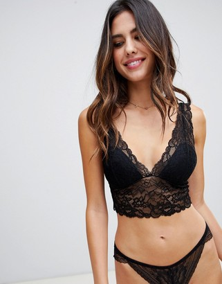 Lindex Emelie Lace Padded Bralette in black