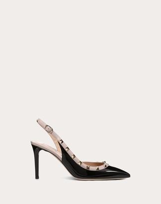 Valentino Rockstud Patent-leather Slingback Pump 85 Mm Women Black/poudre Lambskin 100% 38
