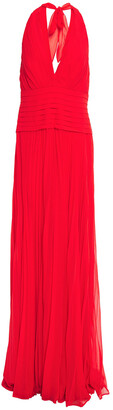 Halston Pleated Georgette Halterneck Gown