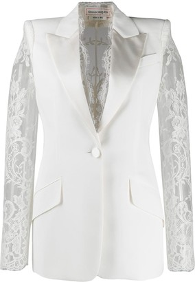 Alexander McQueen lace details single-breasted blazer