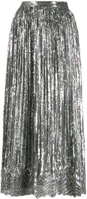 Marco De Vincenzo Sequin-Embellished Pleated Skirt