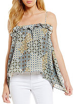 Copper Key Geo-Floral-Print Ruffle-Trim Asymmetrical Hem Top