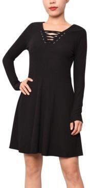 Planet Gold Juniors' Lace-Up A-Line Dress