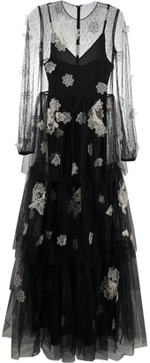 RED Valentino Sheer Floral Applique Gown