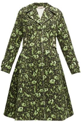 Marni Floral-print Cloque Coat - Green Print