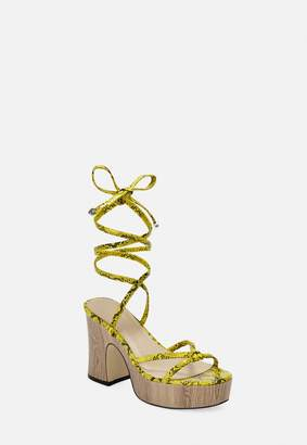 Missguided Yellow Snake Print Wooden Heels