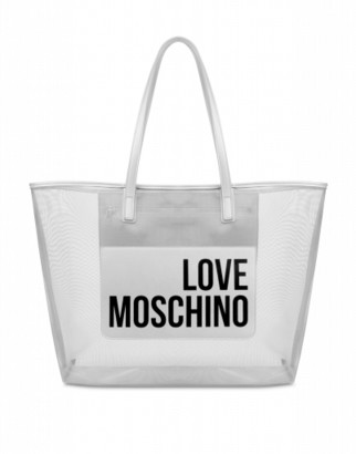 Love Moschino Transparent Mesh Shopper Woman Silver Size U It - (one Size Us)