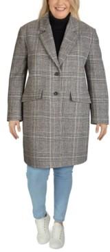 Jones New York Plus Size Plaid Reefer Coat
