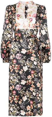 By Ti Mo byTiMo contrasting-bib floral midi-dress