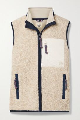 Tory Sport Shell-trimmed Fleece Vest - Neutrals