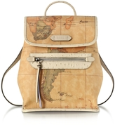 Alviero Martini Australia Geo Printed Backpack w/Cream Ostrich Print Leather Details