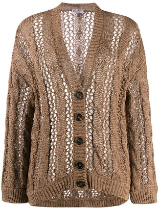 Brunello Cucinelli Button Down Cable-Knit Cardigan
