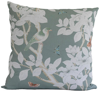 Dawn Wolfe Design Chinoiserie 20x20 Pillow - Medium Green/White Linen