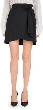 The Kooples Tie Detail Faux-Wrap Mini Skirt