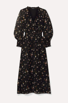 Madewell Wrap-effect Floral-print Chiffon Midi Dress - Black