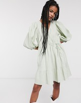 And other stories & shirred mini wrap dress in mint green
