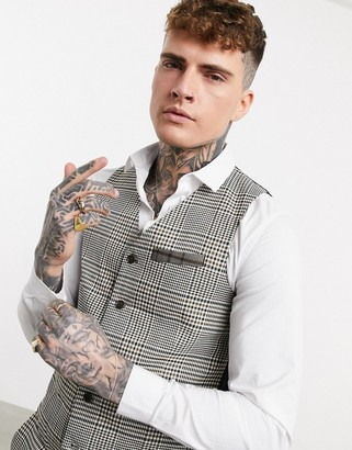 Devils Advocate contrast check print double-breasted skinny fit waistcoat