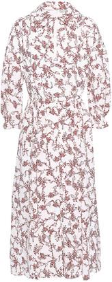 Emilia Wickstead Pleated Floral-print Crepe Midi Dress
