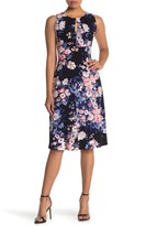 London Times Pleated Neck Floral Dress (Petite)
