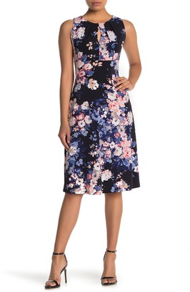 London Times Floral Pleated Neck Sleeveless Dress (Petite)