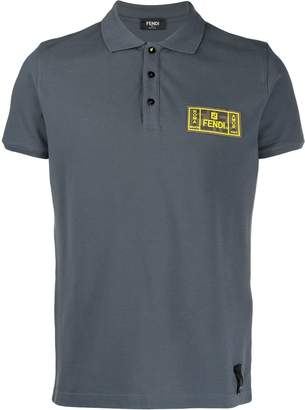 Fendi logo patch piqué polo shirt