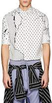 Haider Ackermann Men's Cracked-Dot-Print Silk Button-Down Shirt