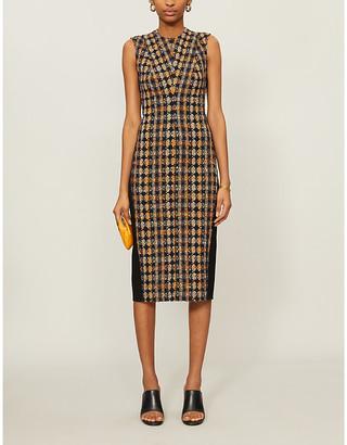 Victoria Beckham Tweed-overlay cotton-blend and woven midi dress