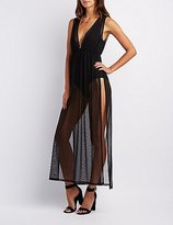 Charlotte Russe Mesh Slit Maxi Dress