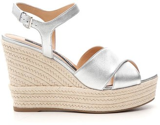 Sergio Rossi Metallic Strap Wedges