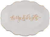 Mud Pie White Merry Bright Gold Platter